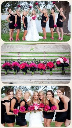 pink shoes and flowers with black bridesmaid dresses