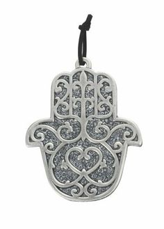 Grey Wall Hanging Hamsa with Fleur-de-lis Design by World of Judaica. $46.00. This wall hanging hamsa contains shades of black, grey, and white in geometric patterns and contains a fleur-de-lis design in silver material. Many different cultures use hamsas to symbolize different things and they call them by different names, as well. In Judaism, hamsas traditionally stand for good luck and are sometimes used as good luck charms. Hang this hamsa in any room to bri...