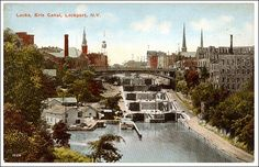 old postcard showing the locks in the Erie Canal, Lockport, NY