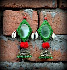 Hariyali Jhumar by Desi Kalakar Original Price Rs plus shipping Discounted Price Rs 900 plus shipping Thread Jewellery, Textile Jewelry, Fabric Jewelry, Jewelry Mirror, Jewelry Art, Silver Jewelry, Silver Rings, Kutch Work Saree, Artisan Jewelry