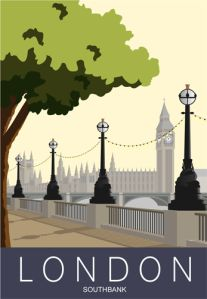 Art Print Travel / Railway Poster from London Southbank. in retro, art deco style design The view from the Southbank in London is a good place to start if you want to see many of the sights from here. Retro Poster, Retro Art, Vintage Art, Vintage Sewing, Moda Art Deco, City Poster, Art Deco Stil, Railway Posters, Shabby Chic Pink