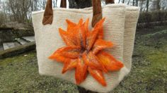 Beige knitted and felted bag with beautiful orange by imunele, $80.00