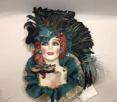 "Sue Rodine Clay Mask Angelique Masquerade by the Bay Green Hat Feathers 22"" 1999 #MasqueradebytheBay"