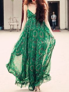 V Neck Printed Fashion Maxi Dress-Berrylook #cheapmaxidresses #longmaxidresses