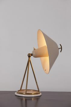 No. 516 Enameled Metal, Brass & Marble Table Lamp, Gino Sarfatti