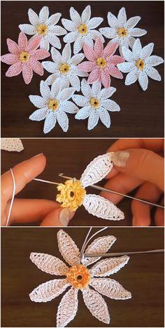 Easy Crochet Flower Tutorial - Learn to Crochet Crochet Flower Tutorial, Crochet Flower Patterns, Crochet Motif, Crochet Designs, Crochet Flowers, Knitting Patterns, Crochet Ideas, Diy Flowers, Crochet Leaves