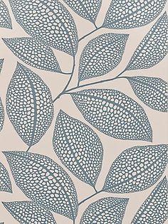 MissPrint Pebble Leaf Wallpaper, Blue, MISP1039