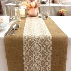 Natural Burlap Hessian & Lace Combo Vintage Wedding Tea Party Table Runner in Home & Garden, Wedding Supplies, Venue Decorations Burlap Party, Tea Party Table, Rustic Tea Party, Rustic Wedding, Trendy Wedding, Tea Party Wedding, Wedding Tables, Garden Wedding, Party Party