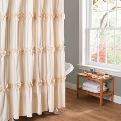 Darla Shower Curtain in Ivory