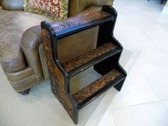 Austria pyrography   Vintage Step Stool Side Table// European Pyrography Linden Wood ...