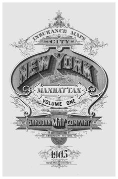 Sanborn Map Company: Cover page of New York Maps from 1905. Loving the layout inspiration!