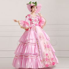 Lady Ruffles Court Flowers Embroidery Trumpet Sleeves Costume Prom Dress Pink | eBay