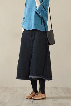 Black Cowboy Wide-legged Pants Loose Trousers Casual Women Clothes LR627