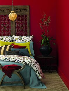 Benjamin Moore Caliente on this bedroom& ruby red wall. Nice accent colors for the ruby red. Add on turquoise bed color Bedroom Red, Home Bedroom, Red Bedroom Design, Bedroom Ideas, Red Accent Bedroom, Asian Bedroom, Trendy Bedroom, Bedroom Designs, Master Bedroom