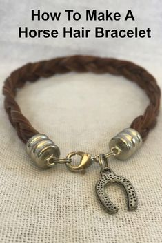 This bracelet is already made up and ready to ship out. It features sorrel horse hair that's been plated into a chunky wide flat, braid. It's finished off with silver plated hardware, a l Horse Hair Bracelet, Horse Hair Jewelry, Horse Hair Braiding, Hair Keepsake, Armband Diy, Horse Camp, Horse Gifts, Camping Accessories, Hair Accessories