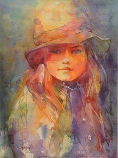 "Fealing Lin watercolor portrait ""Age of Innocence"" Watercolor Portrait Painting, Art Watercolor, Watercolor Landscape Paintings, Portrait Art, Painting & Drawing, Abstract Portrait, Portrait Paintings, Painting Abstract, Acrylic Paintings"