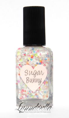 Sugar Bunny has assorted white glitters accented with neons in a translucent soft white shimmering base.