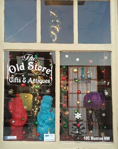 The Old Store windows are decorated for Christmas!
