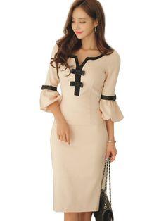 Plain Bow Flare Sleeve Women's Sheath Dress