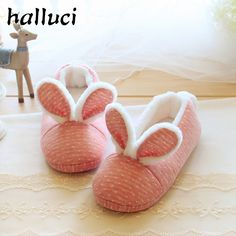 Lovely Pink Powder Rabbit Comfortable Anti Skid Home Cotton Slippers Warm Indoor Shoes