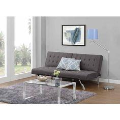 living room $180 Emily Convertible Futon, Gray Linen