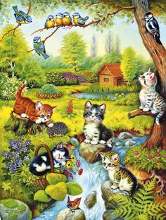 "cuteandadorable: ""Nice painting of kittens and birds. I Love Cats, Crazy Cats, Cute Cats, Image Chat, Gatos Cats, Vintage Cat, Cat Drawing, Cat Art, Cats And Kittens"