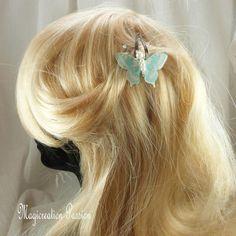 Pince clip cheveux papillon double ailes soie et transparent turquoise, corps perles -collection Maéva, coiffure romantique, made in France