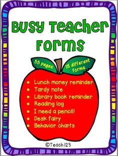 Teacher organization - classroom management: Blank BINGO cards, Stamp or punch cards, Library notes, Lunch money reminder, Snack reminder, Tardy note, Library notes, Write on - journal cover and writing paper, Reading logs, Math facts chart, Charts: reading, spelling, math, science, social studies, homework, language arts, and a blank charts, Book order reminder, Picture day reminder, I lost a tooth, Desk fairy, I need a pencil, Ask me about my day, Behavior chart. paid