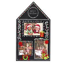 Clever house-shaped holiday magnetic chalkboard displays favorite photos and Christmas themed magnet sets.  Write in captions, holiday greetings and colorful details with chalk markers found at your local craft store. Joy, Christmas Present Magnet Sets and Chalkboard from Embellish Your Story by Roeda.