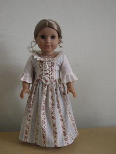 """RESERVED LISTING for Empress: The """"Colonial Elegance"""" 2-piece dress made to fit 18"""" American Girl Dolls."""