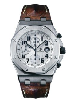 "AUDEMARS PIGUET ROYAL OAK OFFSHORE CHRONOGRAPH (Ref 26170ST.OO.D091CR.01)   42mm, self-winding chronograph with date display and small seconds at 12 o'clock. Called ""Safari"", this watch comes in a stainless steel case with white dial, brown strap and is powered by the in-house AP Calibre 3126 / 3840 movement."