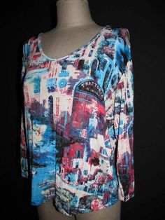 Super colorful Chico's Travelers top in size 2 - Italy theme!