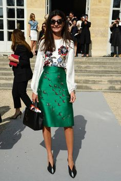 Giovanna Battaglia arrives at the Christian Dior show as part of the Paris Fashion Week Womenswear Spring/Summer 2014