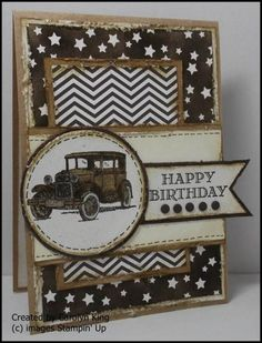 Guy Greetings stamp set - Color scheme is Early Espresso, Kraft, Very Vanilla and Naturals White. Car is colored with Stampin' Write Markers Baked Brown Sugar and Crumb Cake. All edges were distressed with Stampin' Distress Tool and inked with Baked Brown Sugar.