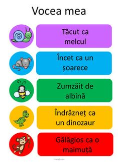Voice Level Chart in Romanian by Ema La Scoala Teacher Supplies, Teacher Binder, Language Activities, Kindergarten Activities, Voice Level Charts, Whole Body Listening, Voice Levels, Reading Task Cards, First Grade Sight Words