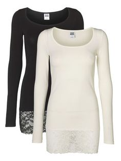 MAXI MY LACE LS LONG TOP NOOS 2PACK, Snow White, main