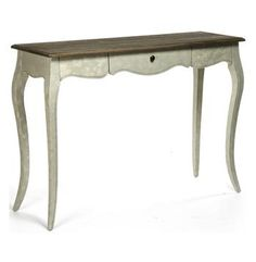 Great table for a foyer or in a bedroom as a desk/vanity. French Country Rochelle Narrow Curved Leg Console Table #KathyKuoHome #FrenchCountryDreamRoom