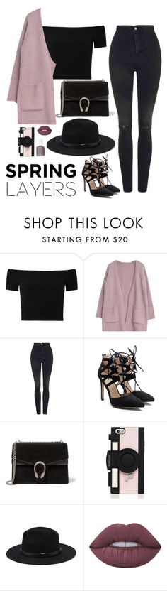 """""""jordan"""" by sophia-etr ❤ liked on Polyvore featuring Alice + Olivia, Goroke, Topshop, Gucci, Kate Spade, Forever 21, Lime Crime, Essie, cutecardigan and springlayers"""