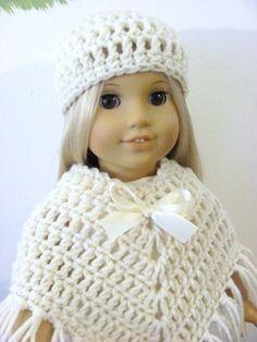 Crocheted 3 Piece Poncho Set  for American Girl 18inch  Doll, Ivory White via Rumma.ge