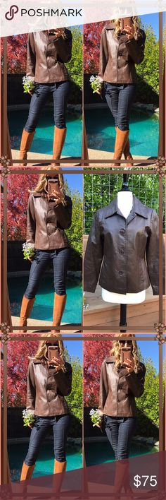Leather Shaver Lake chocolate brown leather jacket!. I love a good leather and own several, they looks amazing even on a casual day a such!. So very fall chic, lining polyester. Simply perfection! Fabulous condition & piece! Shaver Lake Jackets & Coats