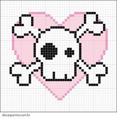 Skull and crossbones x-stitch Cross Stitch Skull, Beaded Cross Stitch, Cross Stitch Patterns, Kandi Patterns, Hama Beads Patterns, Beading Patterns, Perler Beads, Crochet Skull, Graph Paper Art