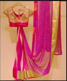 Fuschia Pink Lehariyaa saree with gold border with pretty gold blouse