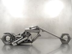 Metal Motorcycle Daddy Long Legs bike sculpture by BrownDogWelding, Josh Welton