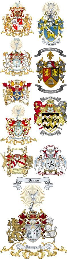 Advanced artwork coat of arms samples are displayed here. We have many types of clipart that customers have created displaying their custom coat of arms. Logo Animal, Knights Templar, Family Crest, Crests, Medieval Fantasy, Illuminated Manuscript, Coat Of Arms, Middle Ages, Badge