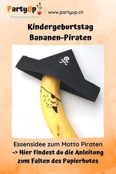 Piraten-Banane Snack zum Kindergeburtstag mit dem Motto Piraten. Gesunder Snack für die Piratenparty oder als Geburtstagsznüni (Geburtstagsessen für Schule, KiTa oder Kindergarten) Kindergarten, Blog, Banana Snacks, Kindergartens, Blogging, Preschool, Pre K, Kinder Garden
