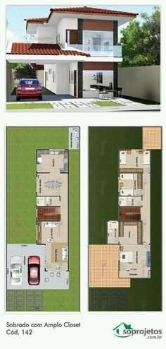 My houses planning. Small Modern House Plans, Modern House Design, Dream House Plans, House Floor Plans, Narrow House, Floor Layout, Sims House, House Layouts, Architecture Plan