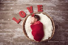 newborn picture idea for Valentine Baby