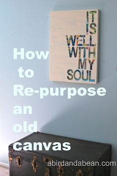 How to re-purpose a thrift store canvas - I'd like to try this with a smaller canvas and would definitely use contact paper vs. tape.