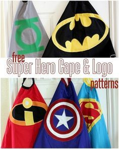 5 FREE Super Hero Cape Logo Patterns for capes, decor, party paraphernalia and more! (AND a link to the free cape pattern. Sewing For Kids, Diy For Kids, Crafts For Kids, Superhero Cape Pattern, Kids Cape Pattern, Free Pattern, Craft Projects, Sewing Projects, Superhero Party