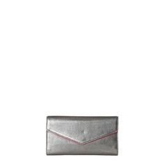 MZ Wallace Katherine in Gunmetal Leather Shop | The Katherine is a classic feminine wallet with a minimal exterior and a well-organized inte...